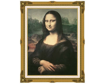 Framed Painting Reproduction Mona Lisa Leonardo da Vinci Renaissance Wall Art Print on Canvas - Sizes Small to Large - M00265