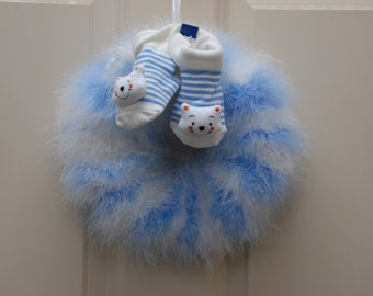 Custom Made Baby Shower Feather Wreath Decoration or Gift