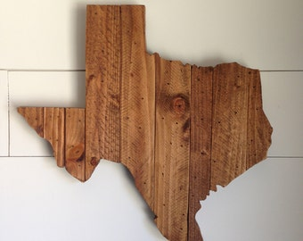 Rustic Wood Texas State Sign - 17 inches wide