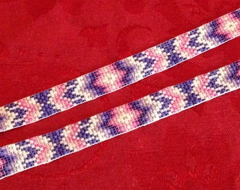 Beaded hat band with tassels # 1 Purple