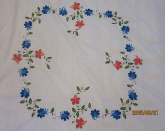 Hand Embroidered Bolivian Table Cloth with 8 Hand Embroidered Napkins