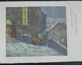 Vintage Christmas Greeting Card Artist Signed Germany Nativity Scene