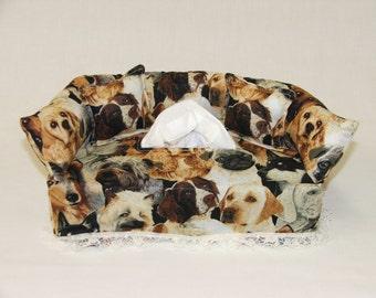 Dogs fabric tissue box cover.