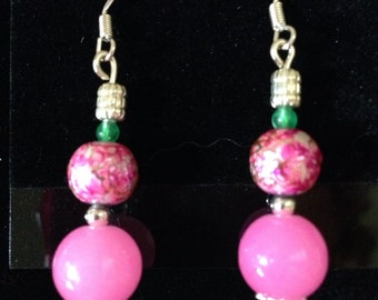 Pink dangles with a touch od green and silver