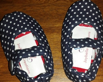Navy with Small White polka Dots Mary Jane Toddler Shoes Size 3-6 months
