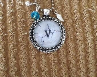 Monogram Necklace on Birch Paper