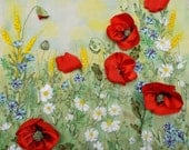 "paintings, embroidered satin ribbons ""flowers in the field"". Sold. Made to order"
