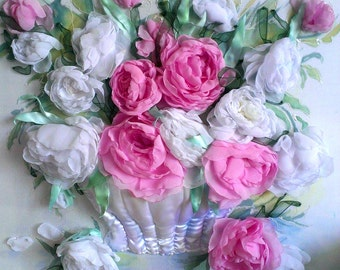 """embroidery ribbons """"Peonies in a Vase"""". Sold. Made to order"""