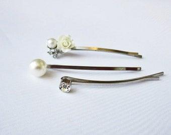 Bridal Veil Pins, Set of 3 Bobby Pins, Wedding Accessory, Bridal Acessory