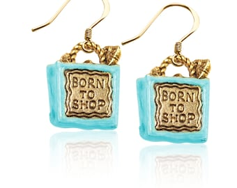 Born to Shop Charm Earrings