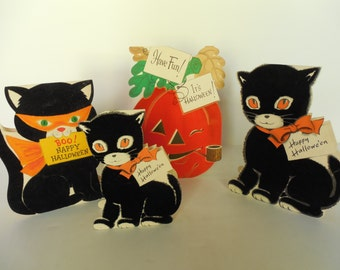 Four Vintage Flocked Halloween Greeting Cards Double Sided Norcross Inky Black Cat, Hallmark & Gibson