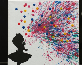 Melted Crayon  Art - Girl Blowing Bubbles