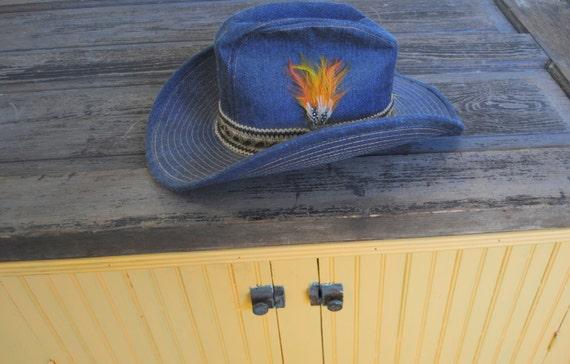 vintage denim cowboy western hat side feather by upscaleavenue. Black Bedroom Furniture Sets. Home Design Ideas