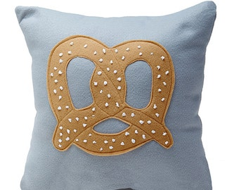 Pretzel Mania Grey and Brown  felt decorative pillow