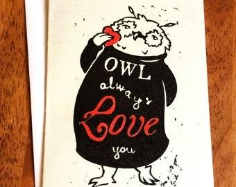 Owl Always Love You - Linocut Greeting Card
