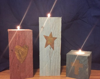 Wooden rustic candle holders