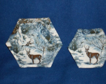 Blue Deer Winter Scene Coasters