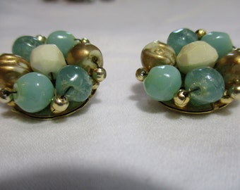 Beaded Turquois, Gold, and Pearl Colored Clip On Earrings
