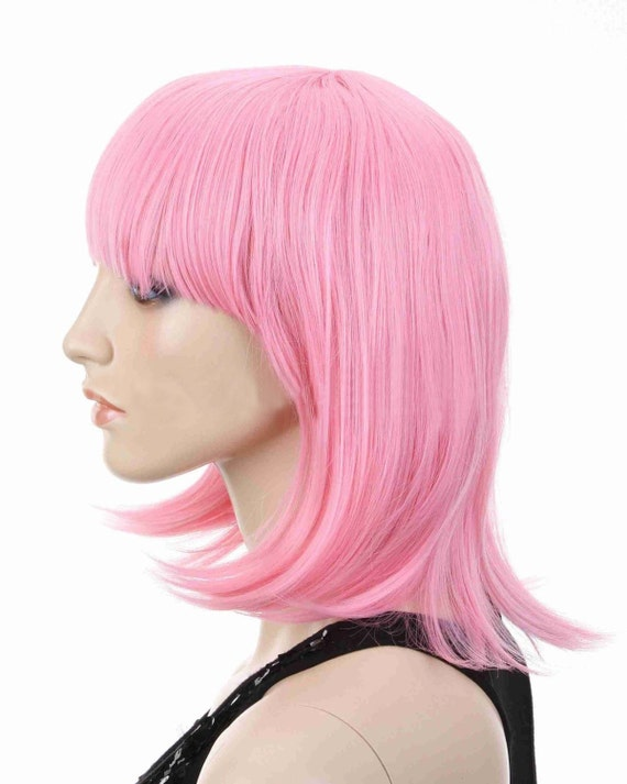 Short Straight Hair Full Wigs Pink Momo Saotome By