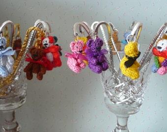 Hand Knit Tiny 3 cm Teddy Bear Bookmark