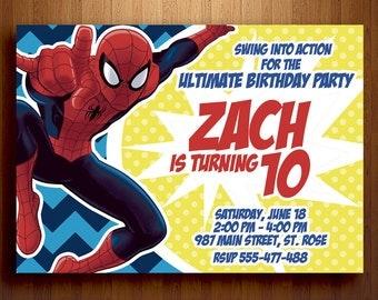 Spiderman Invitation Birthday - Digital Printable File