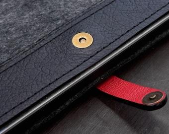 Monogram. Macbook Air 13 Ultralight Premium Leather case, matte Black