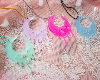 Starry Kawaii Drippy Melty Moon - The ORIGINAL Kawaiicore Melty Moon Laser Cut Necklace