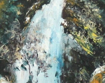 Impressionist oil painting landscape waterfall signed