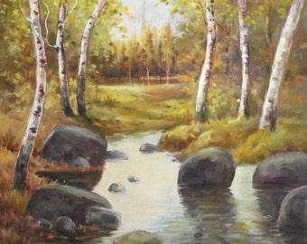 Impressionist vintage oil painting landscape birch