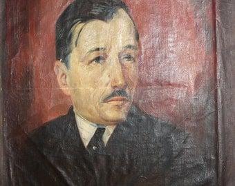 1931 Antique oil painting man portrait signed