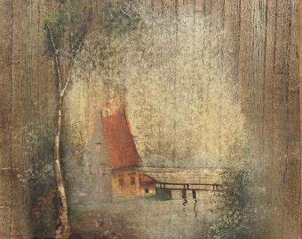 Vintage realist landscape lake oil painting