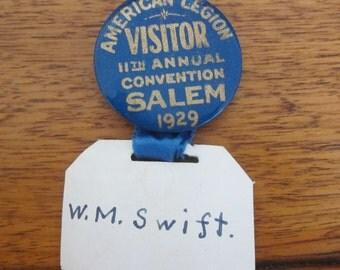 American Legion Button/Pin 1929