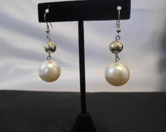 Gold and Pearl Dangling Earrings