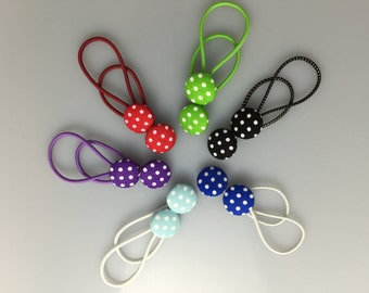 Fabric Covered Buttons - Polka Dot Hair Elastics
