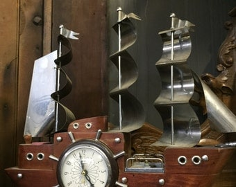 Electric Schooner Ship Clock