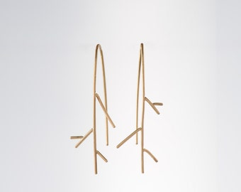 14K Yellow Gold thin twig earrings