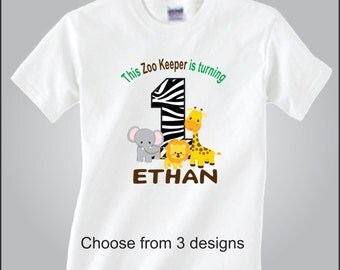 Personalized Zoo Birthday Shirt Jungle Zoo Safari Animal Birthday Shirt