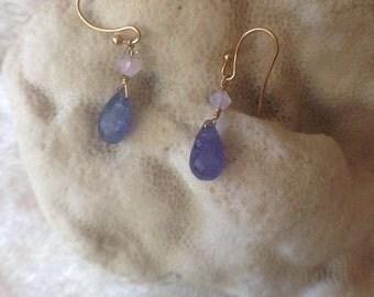 TANZANITE and Czech Glass Earrings