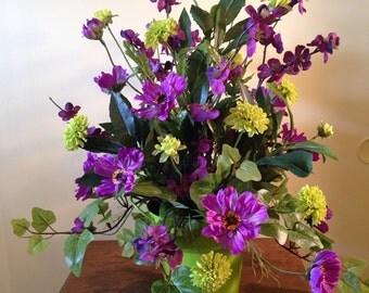 Purple and Light Green Silk Floral Arrangement