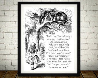 We're All Mad Here - Traditional Alice In Wonderland Art - Buy 2 get 1 Free