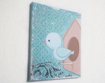 Little Blue Bird Canvas Painting / Nursery Wall Art / Art Décor / Kawaii Art / 8x10 Canvas