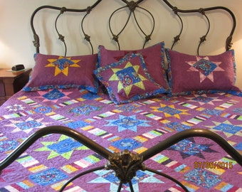 Reduced King Size Quilt,King w/shams,Purple-Blue King Quilt, King bed quilt w/stars, King Size Modern Kaleidoscope, King Bed Quilt