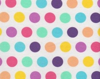 KNIT Fabric: Pastel Polka Dots Cotton Lycra knit fabric. Sold by the 1/2 yard.