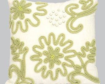 Green Chenille Pillow P114