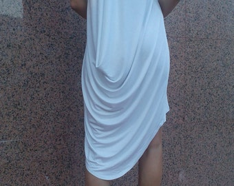 White Short Sleeves Oversized Tunic/ Top/ Blouse/comfortable dress/ Hi-low Dress