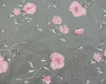 Pink and Grey Floral Print 100% Linen Fabric by the Yard