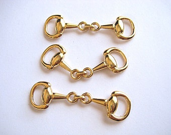 3 Medium Gold Plated High Quality Snaffle Bit--Make Fabulous Equestrian Jewelry