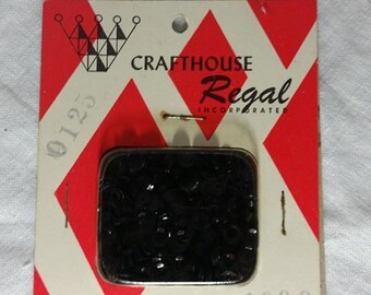 Crafthouse Regal 1000 Piece Black Sequin~Vintage Craft Supplies~ Chicago~Hollywood~Dorothy Flicek Industries~Fashion Accesories~Jewelry