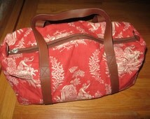 Pierre Deux textile duffel bag - french fabric - leather handles and trim