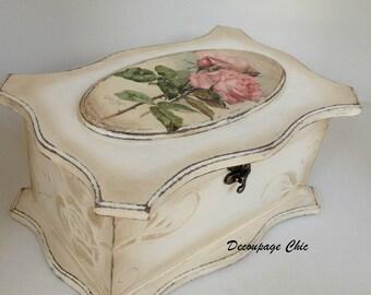 Jewelry Box,vintage roses custom made box, Shabby Chic vintage box